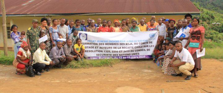Atelier de renforcement des capacités des acteurs locaux de Bunyakiri sur les résolutions 1325, 2250 et 2419 du conseil de sécurité des Nations-Unies
